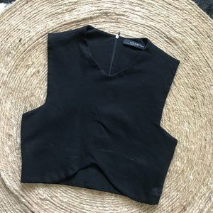 Zara Black Structured Crop Top